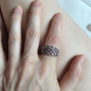 Vintage Jewelry - Amethyst 925 Silver Thick Band Ring Size 7